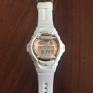 White and rose gold Baby G watch
